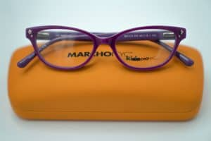 Purple Marchon Kids Glasses with Orange Case